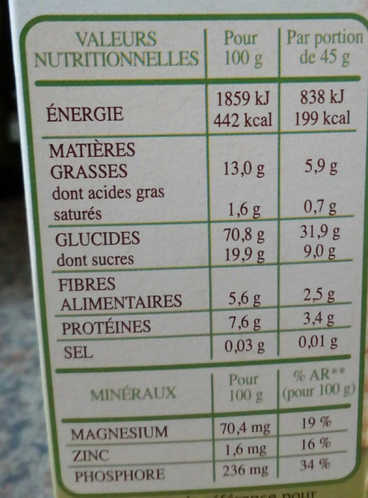 Country crisp Avoine et Orge Dorée BIO - Informations nutritionnelles - fr