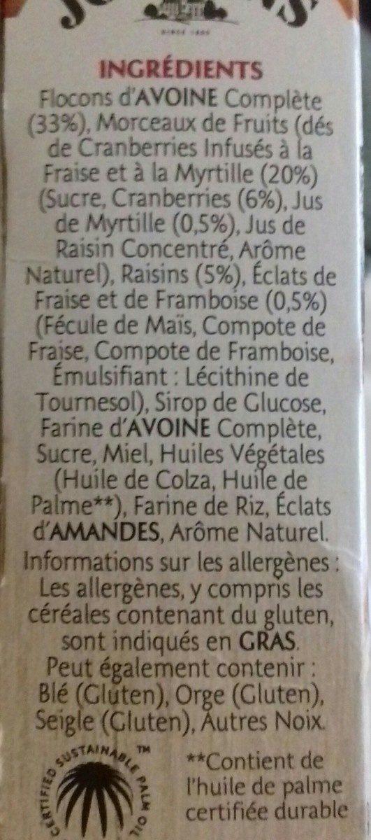 Frusli fruits rouges - Ingredients - fr