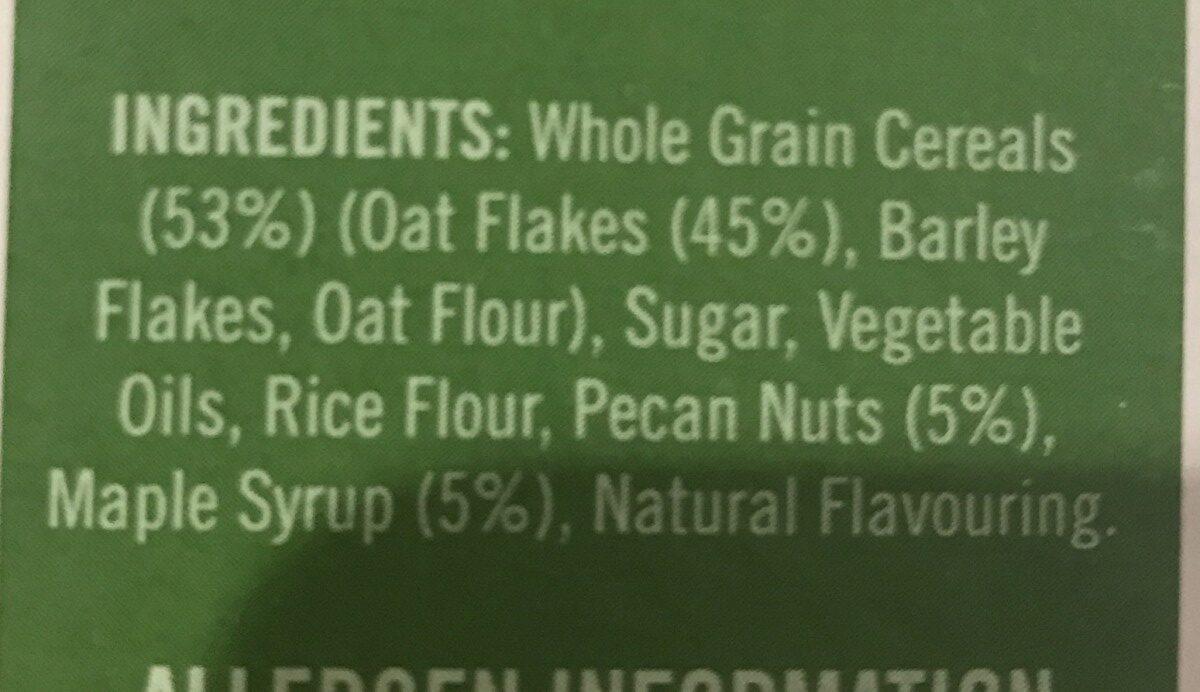 Crispy oat clusters maple and pecan - Ingrédients - en