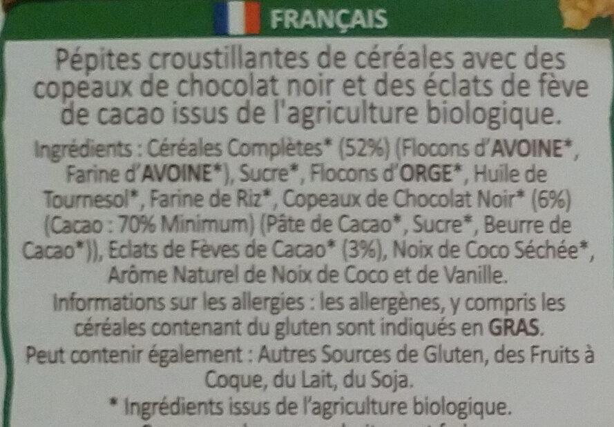Country Crisp - Dark Chocolate & Cocoa Nibs - Ingrédients - fr