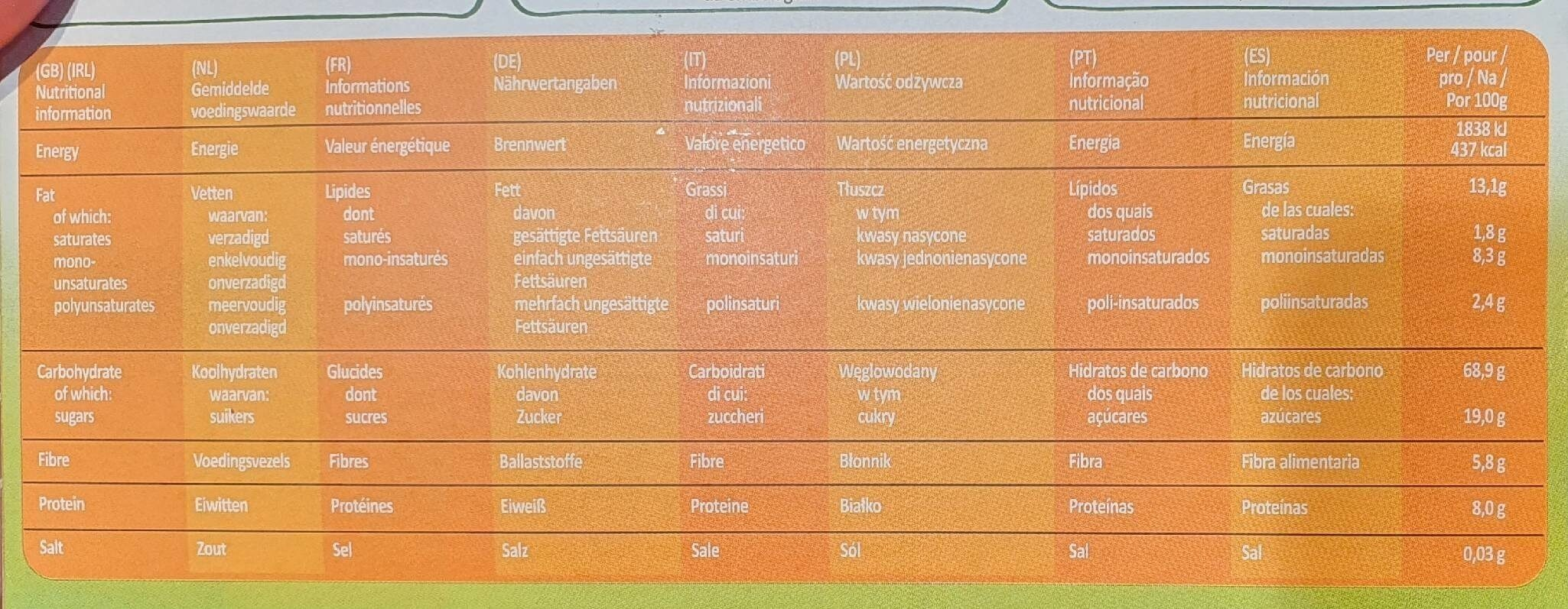 Country crisp bio - Valori nutrizionali - fr