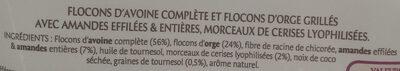 Granola céréales complètes Cerise, amande & graine de tournesol - Ingrédients - fr