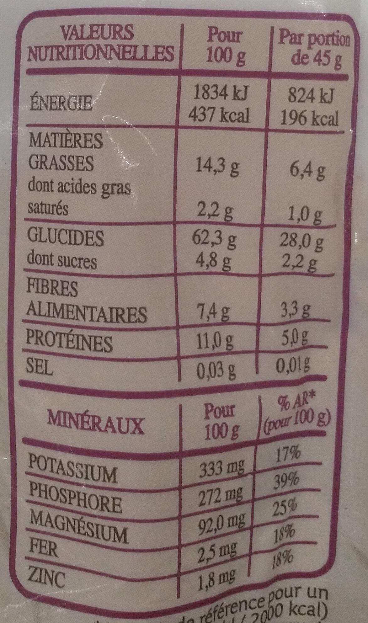 Granola céréales complètes Cerise, amande & graine de tournesol - Informations nutritionnelles - fr