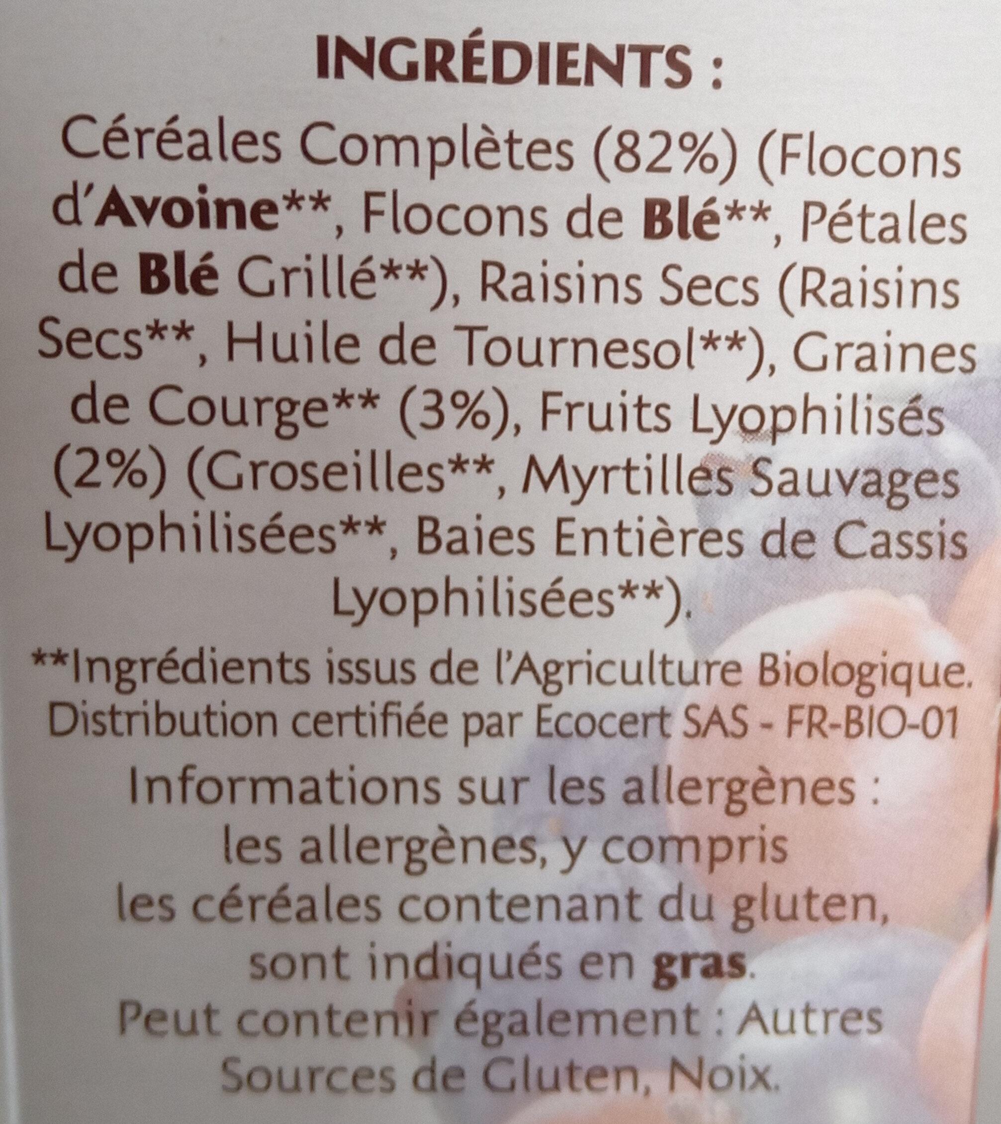 Muesli Bio Superfruits & Graines - Ingredients - fr