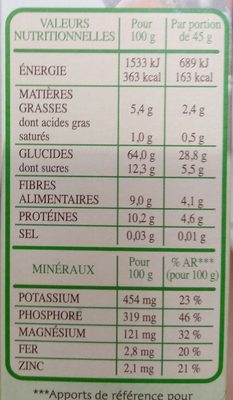 Muesli Bio Superfruits & Graines - Informations nutritionnelles