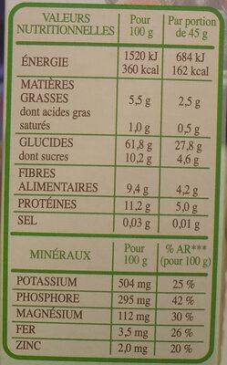 Muesli Bio Superfruits & Graines - Nutrition facts - fr