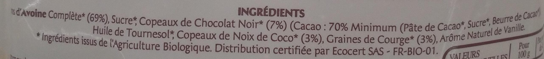 Granola - Flocons d'Avoine grillés aux copeaux de chocolat noir, noix de coco et graines - Ingrédients - fr