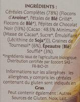 Muesli bio chocolat noir - Ingrédients - fr