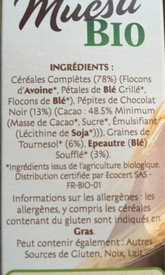 Muesli bio chocolat noir - Ingredients - fr
