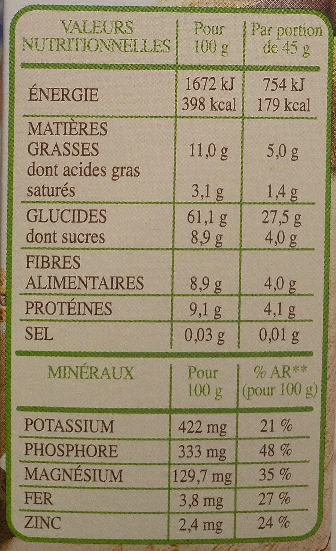 Muesli bio chocolat noir - Informations nutritionnelles - fr