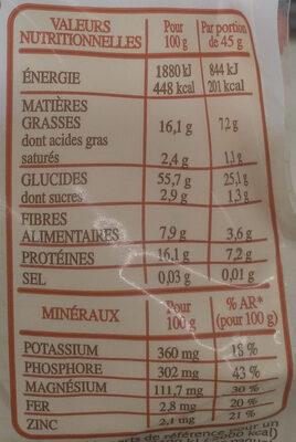 Granola amandes noisettes et graines - Informations nutritionnelles - fr