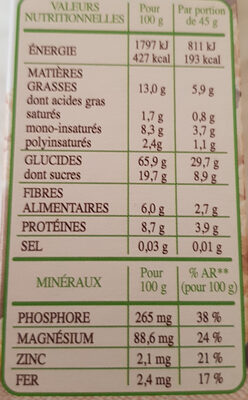 Country Crisp Bio - Informations nutritionnelles