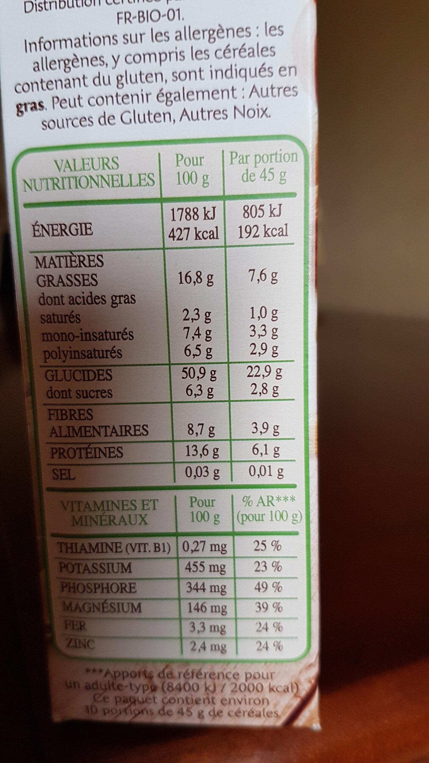 Muesli bio noix & graines - Informazioni nutrizionali - fr