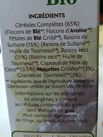 Muesli Bio - Ingrédients - fr