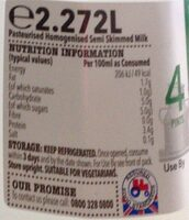 Semi skimmed milk - Informations nutritionnelles - en