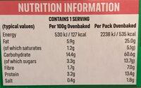 Vegetable lasagne - Nutrition facts - en