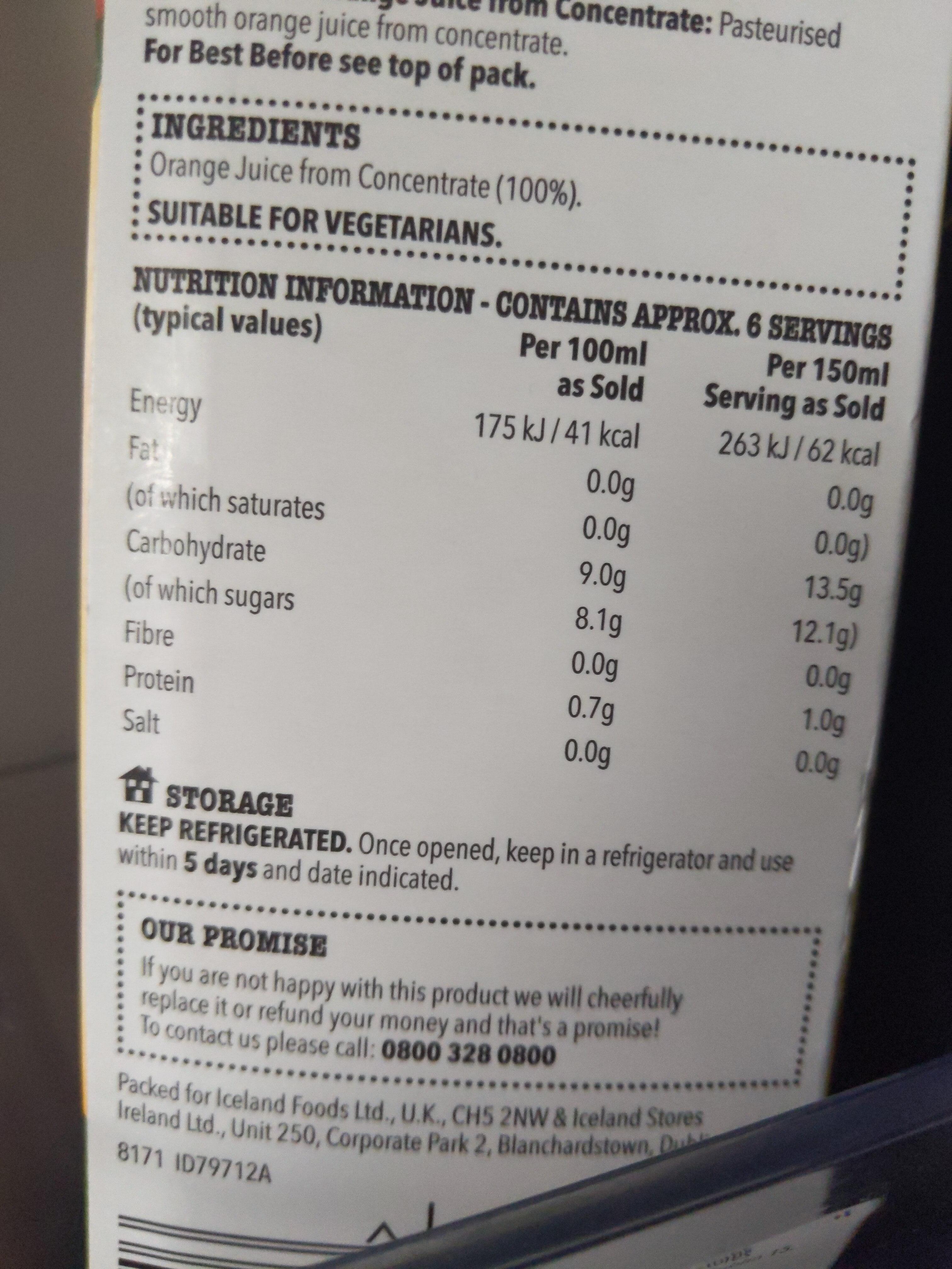 Pure Orange Juice - Informations nutritionnelles - en