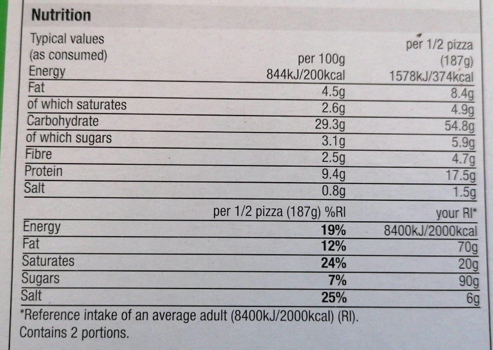 Stonebaked vegetable pizza - Valori nutrizionali - en