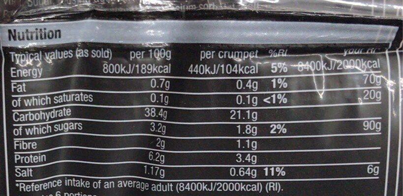 Crumpets with sourdough - Nutrition facts - en