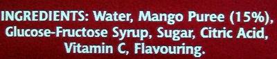 mango juice drink - Ingredients