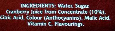 cranbery juice drink - Ingredients