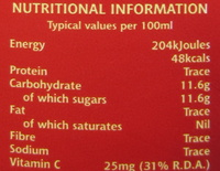 cranbery juice drink - Nutrition facts