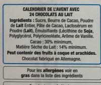 Calendrier de l'avent en chocolat au lait Dora l'exploratrice - Ingredients