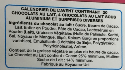 Calendrier de l'Avent au chocolat au lait avec surprises Hello Kitty - Ingredients - fr