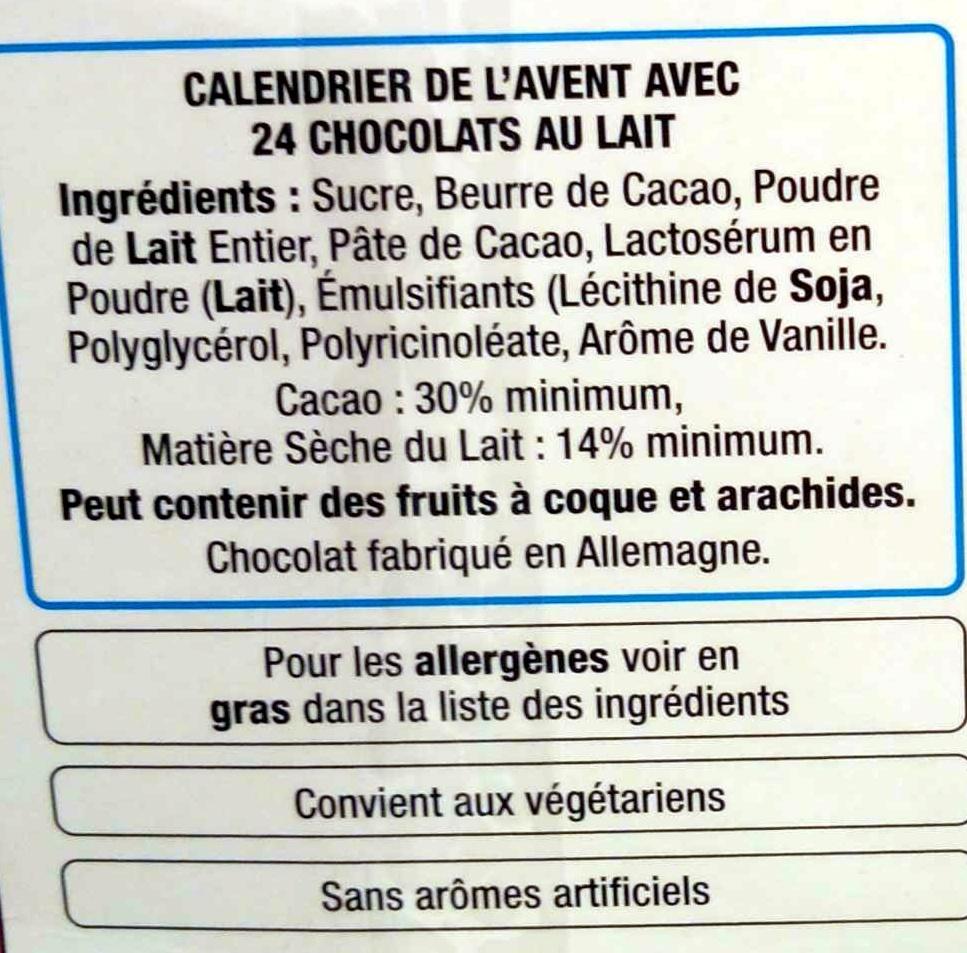 Calendrier de l'Avent en chocolat au lait - Ingrédients - fr