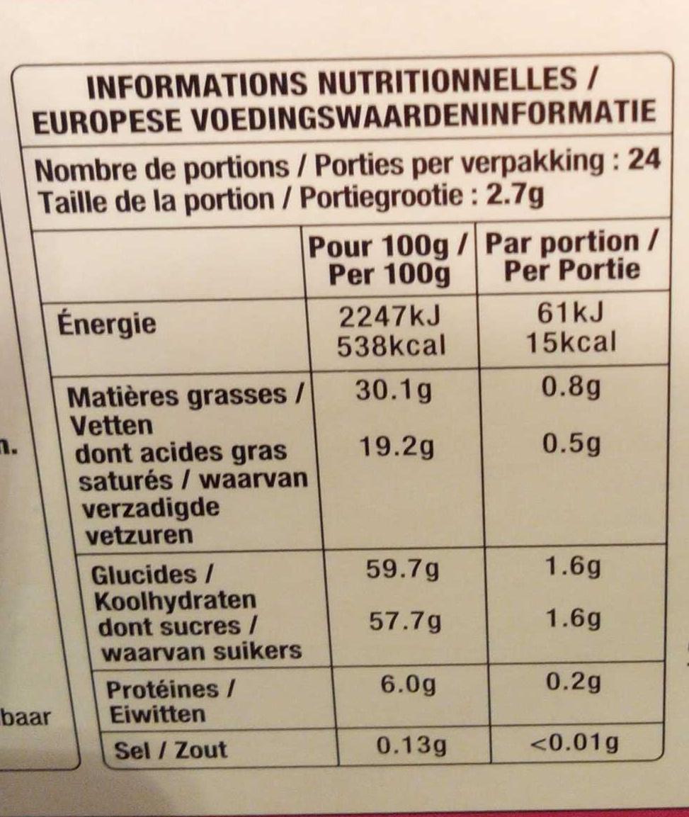 Calendrier de l'Avent en chocolat au lait - Informations nutritionnelles - fr