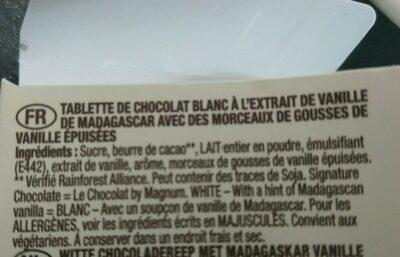Magnum Signature Chocolate White Mini - Ingrediënten - fr