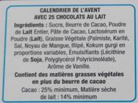 Calendrier de l'Avent en chocolat au lait - Ingredients