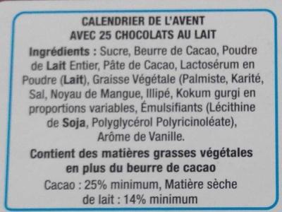 Calendrier de l'Avent en chocolat au lait - Ingrédients
