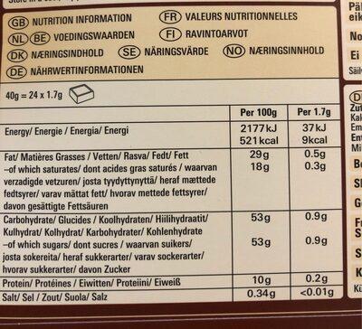 Kinnerton Paw Patrol Calendario de adviento chocolate - Informations nutritionnelles