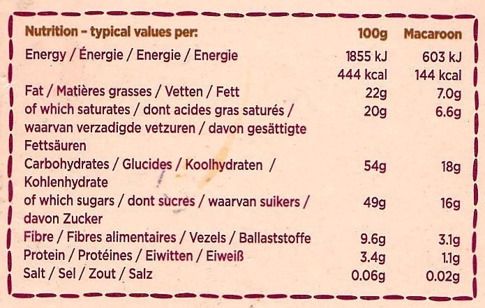 6 Large Choc Macaroons - Informations nutritionnelles - fr