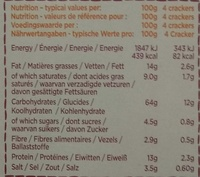 Original Cheese Crackers - Nutrition facts - fr