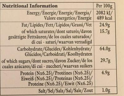 Ginger and Sicilian Lemon Scottish Pure Butter Cookies - Informations nutritionnelles