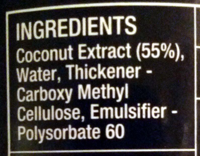 Coconut Milk - Ingrédients