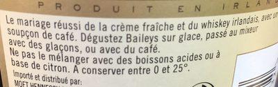 Crème De Café Baileys 17% 70 cl, 1 Bouteille - Ingrédients - fr