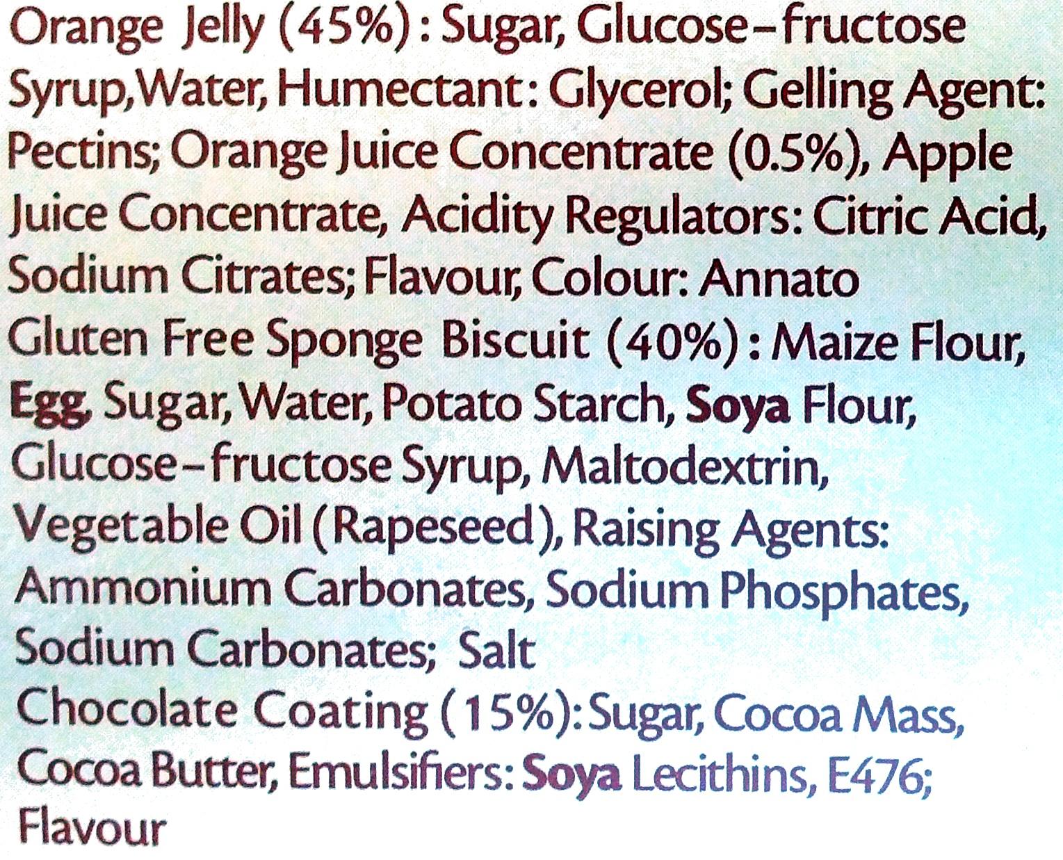 Kelkin Gluten Free Jaffa Cakes Ingredients
