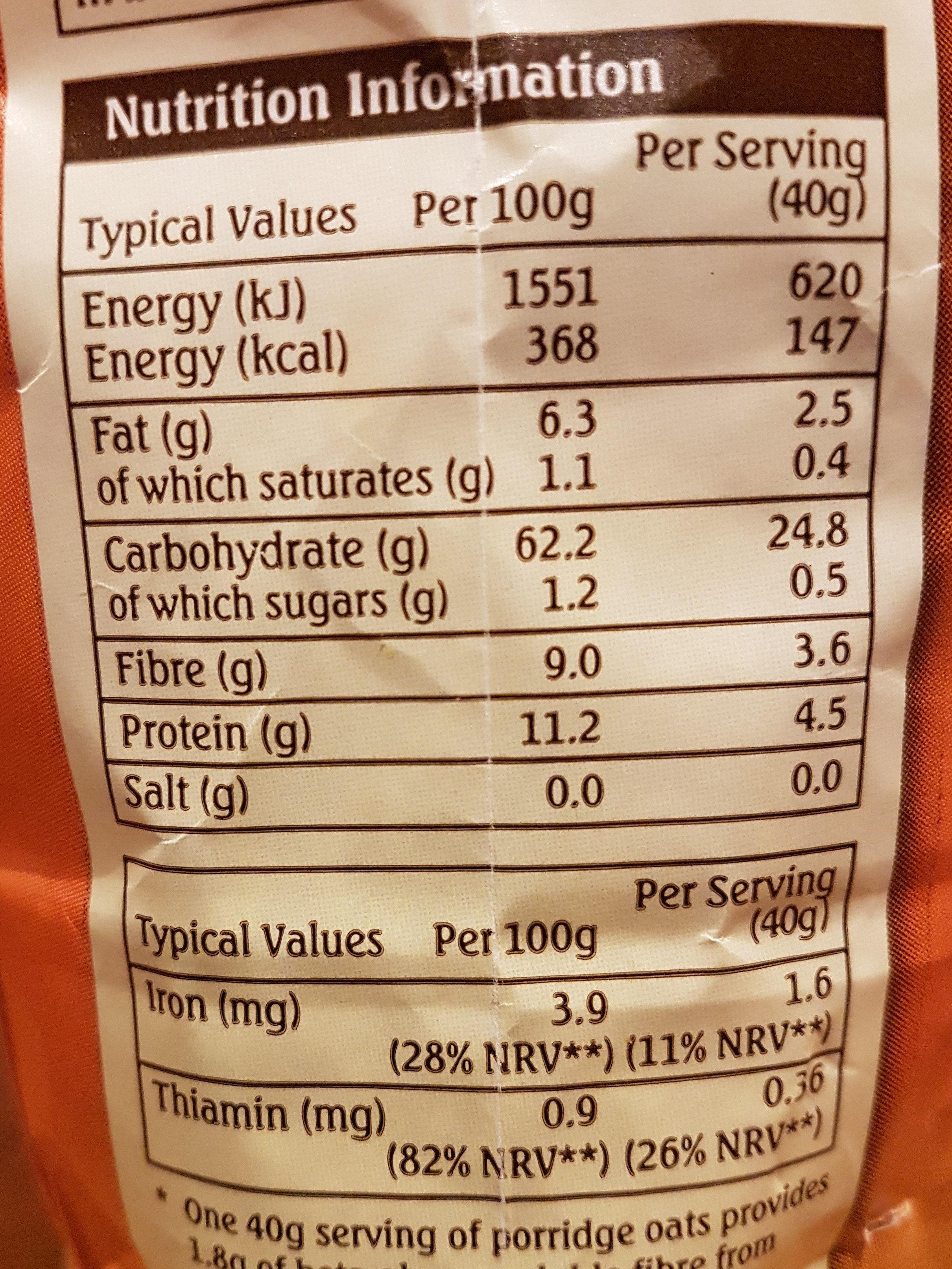 porridge oats - Nutrition facts - en