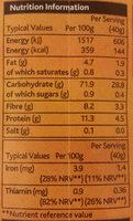 Pinhead Porridge Oats - Informations nutritionnelles - en