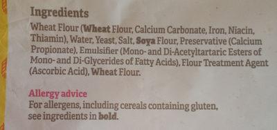 White Sliced Bread 800G - Ingredients - en