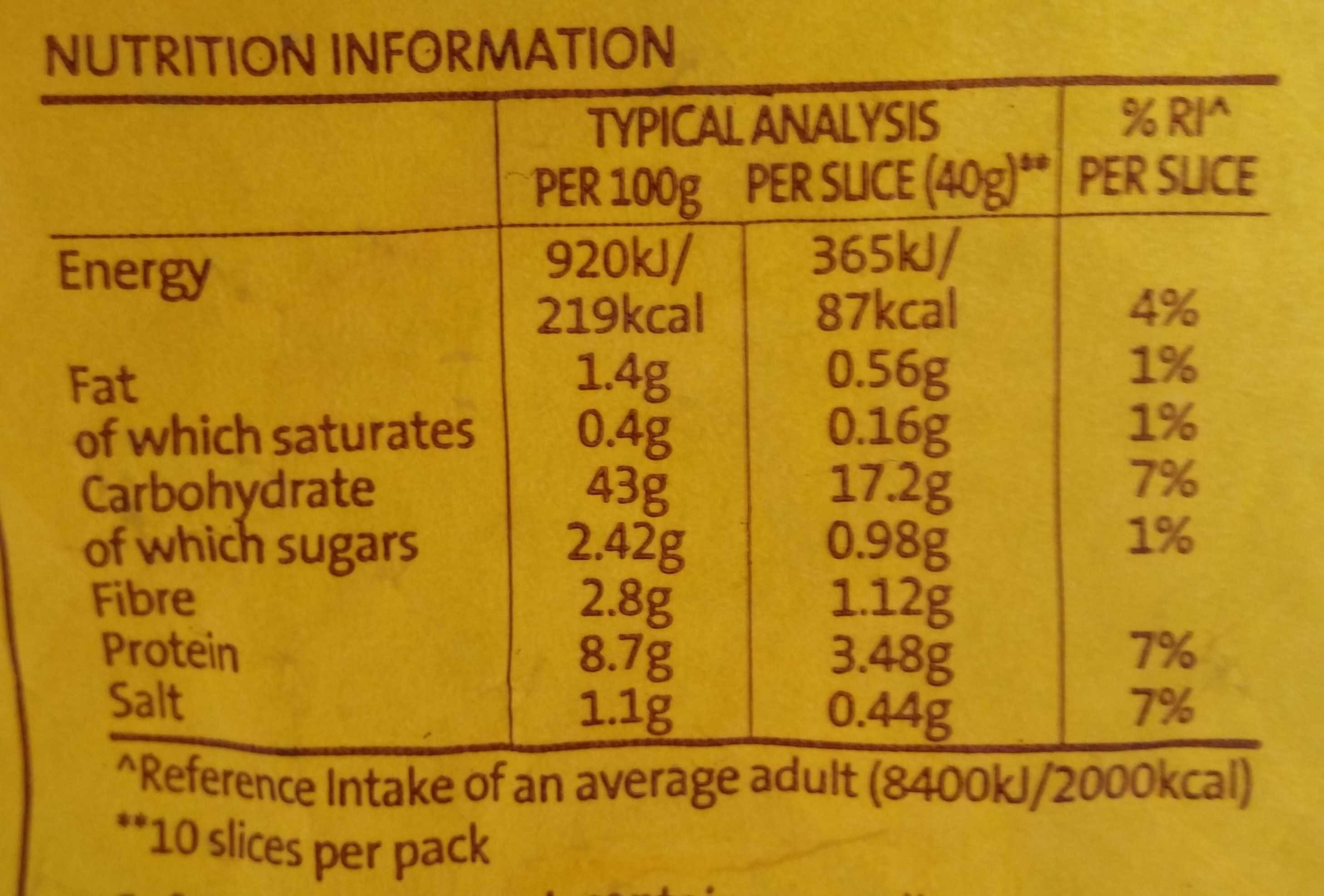 Half Pan Premium White Bread - Nutrition facts - en
