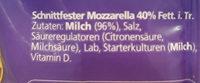Cheestrings Mozzarella Schnittfest - Inhaltsstoffe