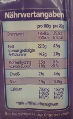 Cheestrings Mozzarella Schnittfest - Nährwertangaben