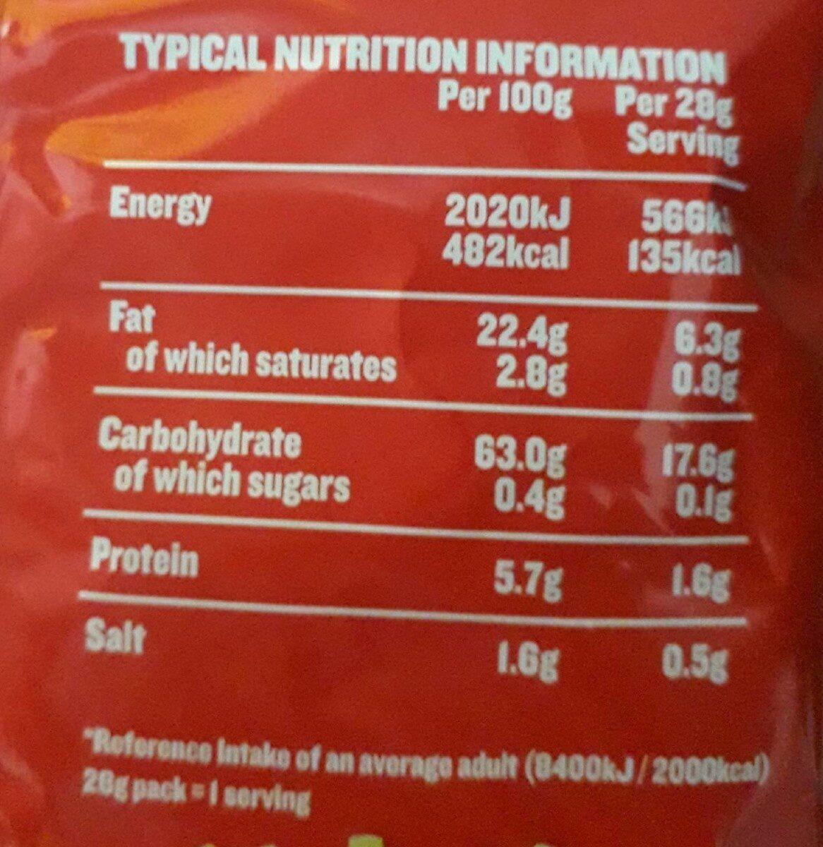 Tayto Chipsticks 28G - Informations nutritionnelles - en