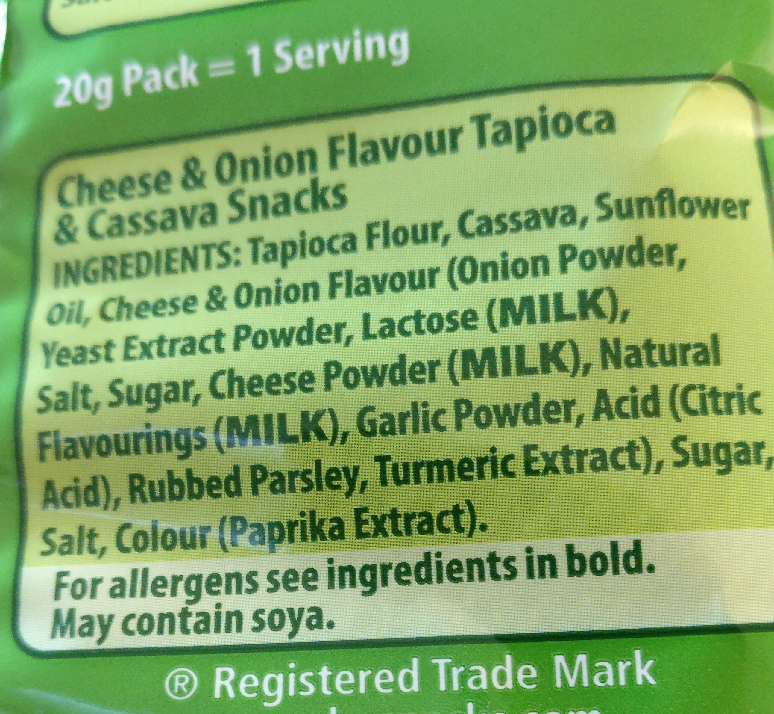 velvets cheeseand onion cassava snacks - Ingrédients - en