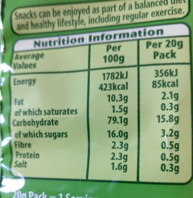 velvets cheeseand onion cassava snacks - Informations nutritionnelles - en