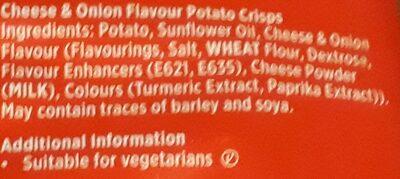 Tayto Cheese & Onion Crisps - Ingredients - en